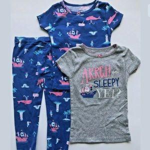 NEW Toddler Girls Size 3T Pajama 3pc Set Sleepwear